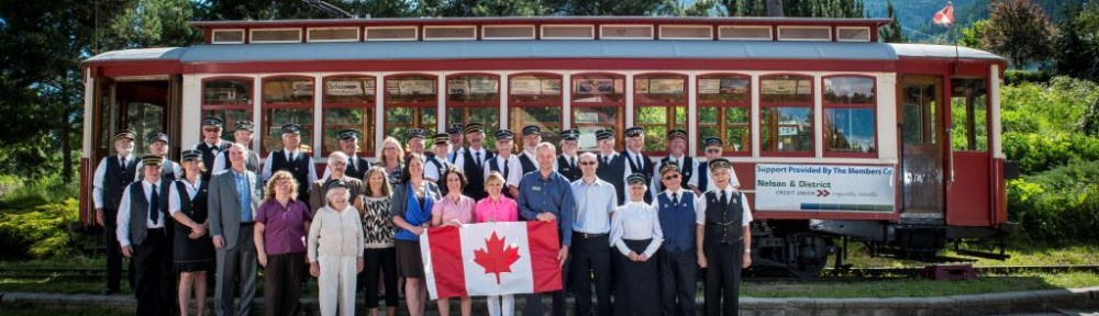 David Gluns photo of the Trolley Society and Nelson Credit Union Staff