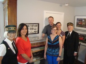 Nelson and District Credit Union Staff checking out the model display of Streetcar#23